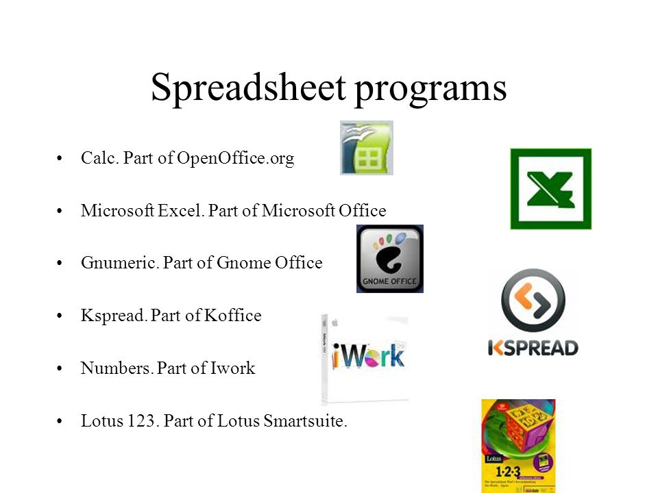 Spreadsheet programs Calc. Part of OpenOffice.org Microsoft Excel.