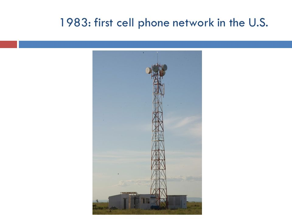 1983: first cell phone network in the U.S.