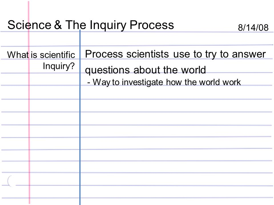Science & The Inquiry Process 8/14/08 What is scientific Inquiry.