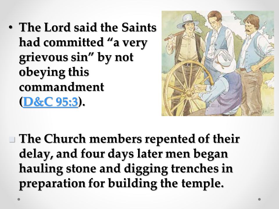 The Saints were very poor and they knew the temple would cost a lot of money, so they did not start building it right away.