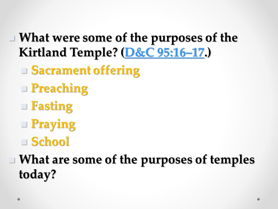 Who gave the plans for the temple. (D&C 95:13–14.) Who gave the plans for the temple.