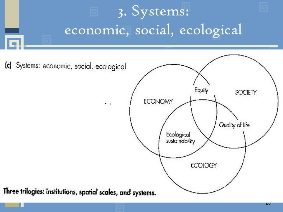 20 3. Systems: economic, social, ecological