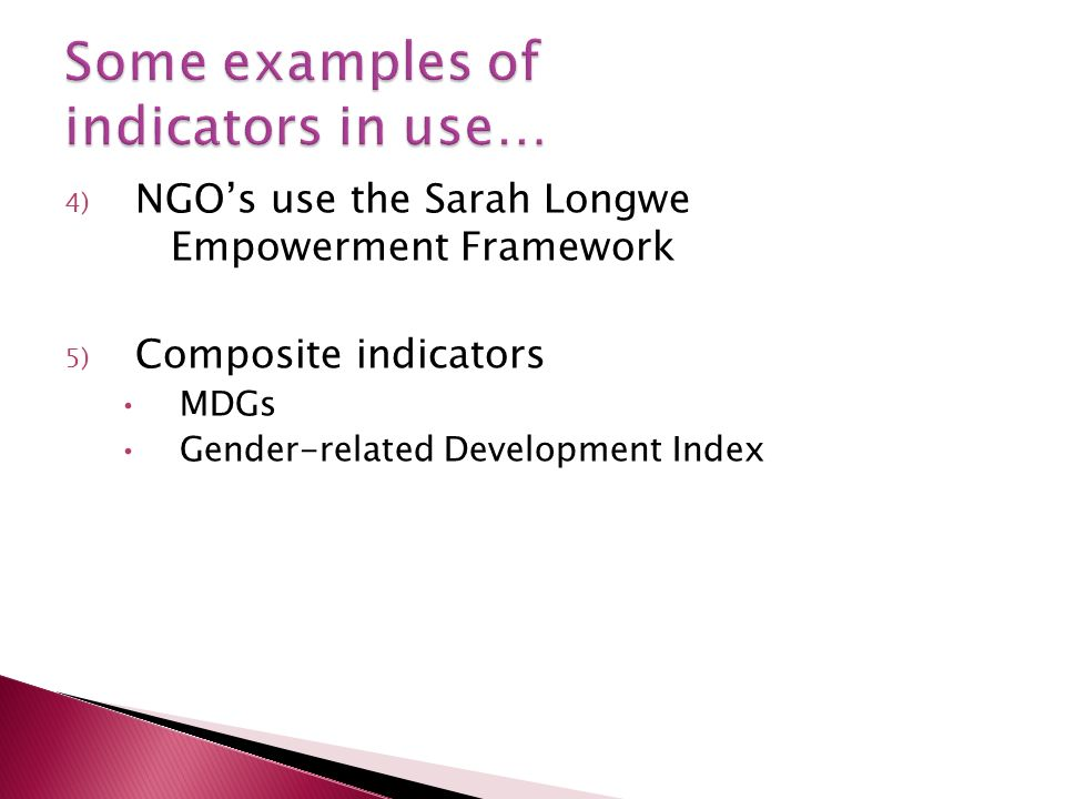4) NGOs use the Sarah Longwe Empowerment Framework 5) Composite indicators MDGs Gender-related Development Index
