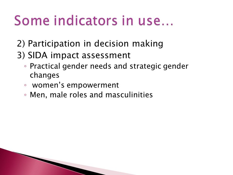 2) Participation in decision making 3) SIDA impact assessment Practical gender needs and strategic gender changes womens empowerment Men, male roles and masculinities