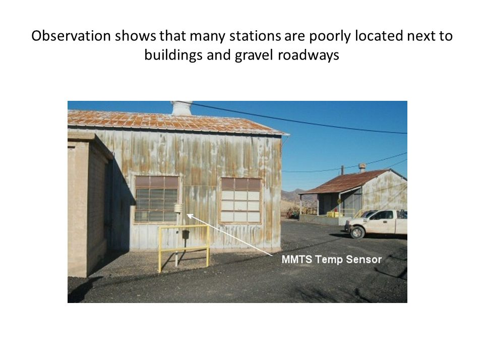 Observation shows that many stations are poorly located next to buildings and gravel roadways