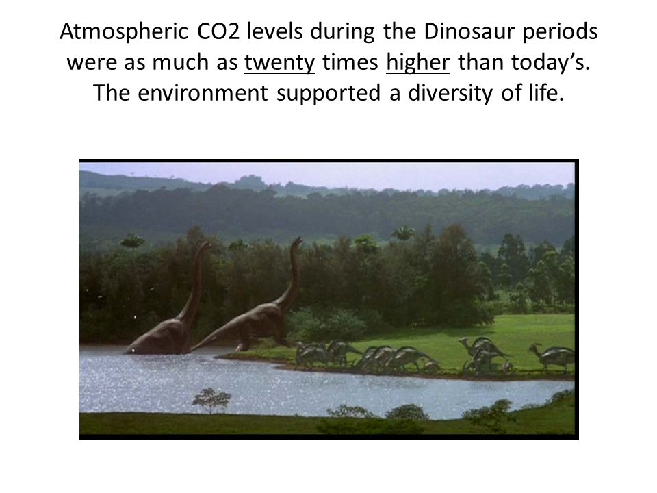 Atmospheric CO2 levels during the Dinosaur periods were as much as twenty times higher than todays.