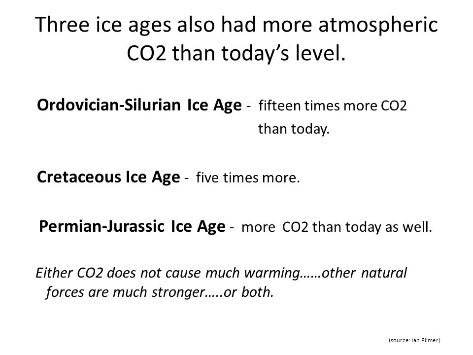 Three ice ages also had more atmospheric CO2 than todays level.
