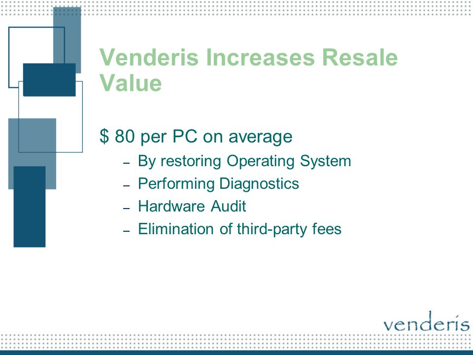 Venderis Increases Resale Value $ 80 per PC on average – By restoring Operating System – Performing Diagnostics – Hardware Audit – Elimination of third-party fees