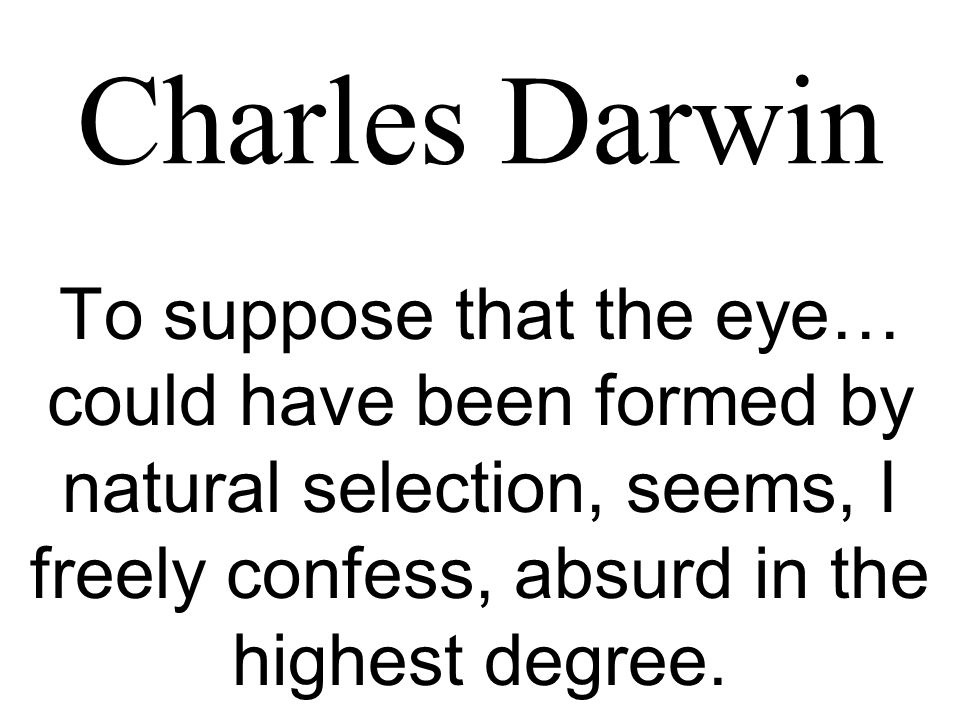 Charles Darwin To suppose that the eye… could have been formed by natural selection, seems, I freely confess, absurd in the highest degree.