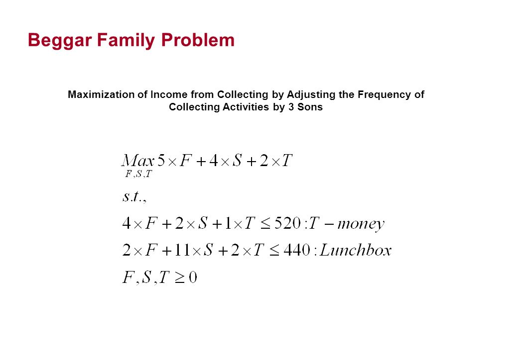 Beggar Family Problem Maximization of Income from Collecting by Adjusting the Frequency of Collecting Activities by 3 Sons