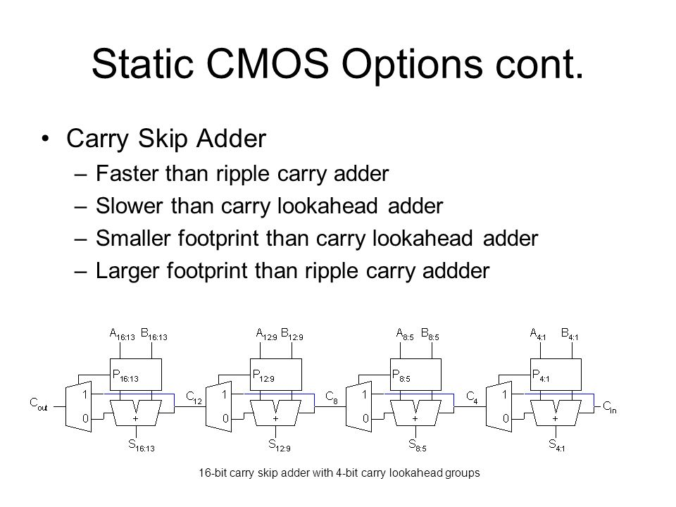Static CMOS Options cont.