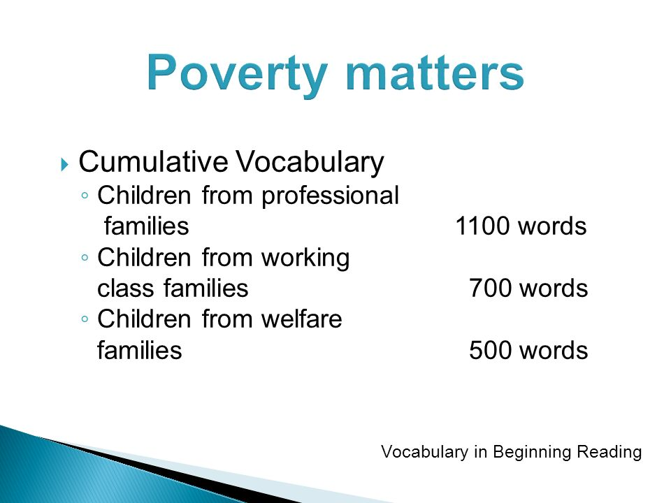 Poverty matters Cumulative Vocabulary Children from professional families1100 words Children from working class families 700 words Children from welfare families 500 words Vocabulary in Beginning Reading