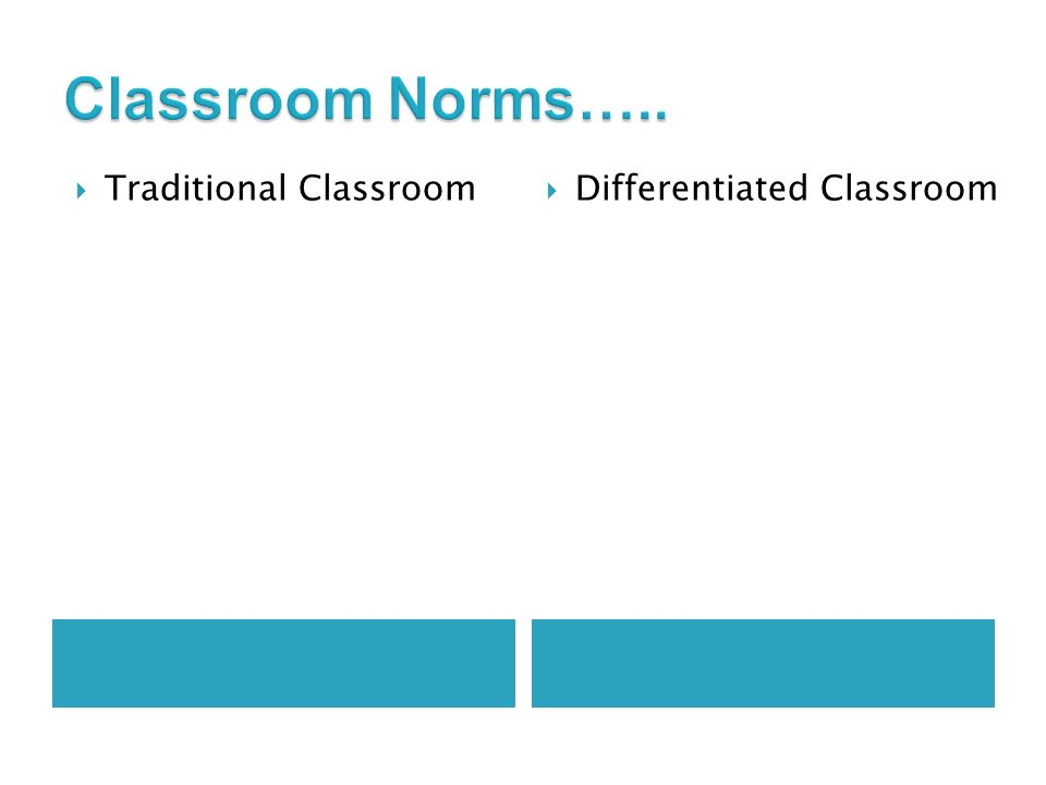 Traditional Classroom Differentiated Classroom