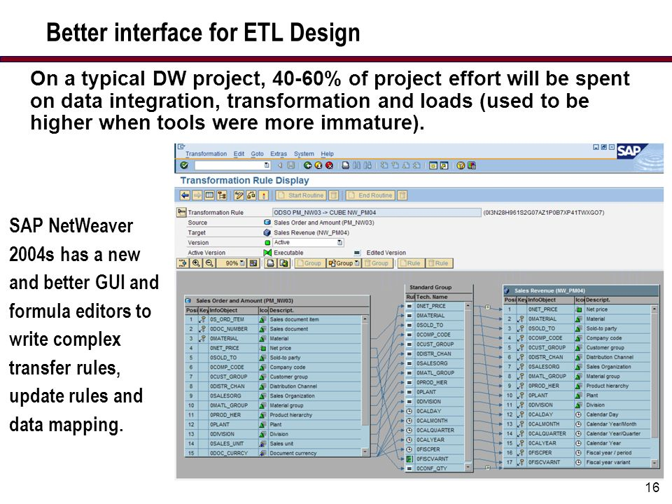 16 Better interface for ETL Design SAP NetWeaver 2004s has a new and better GUI and formula editors to write complex transfer rules, update rules and data mapping.