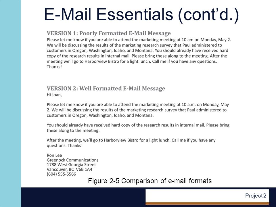E-Mail Essentials (contd.) Project 2 Figure 2-5 Comparison of e-mail formats