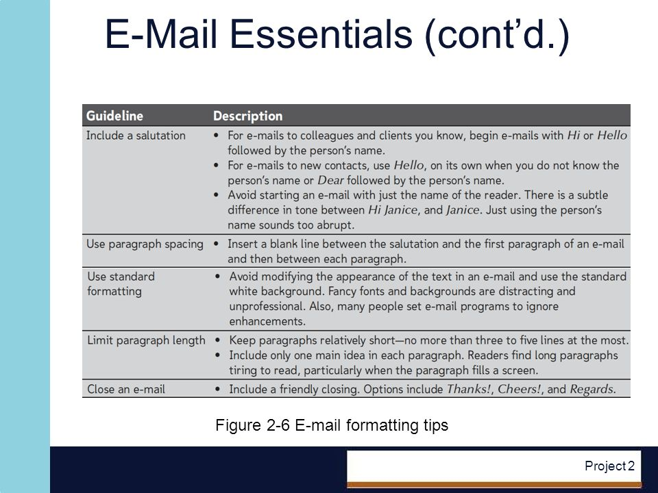 E-Mail Essentials (contd.) Project 2 Figure 2-6 E-mail formatting tips