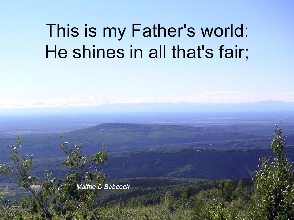 This is my Father s world: He shines in all that s fair; Maltrie D Babcock ©