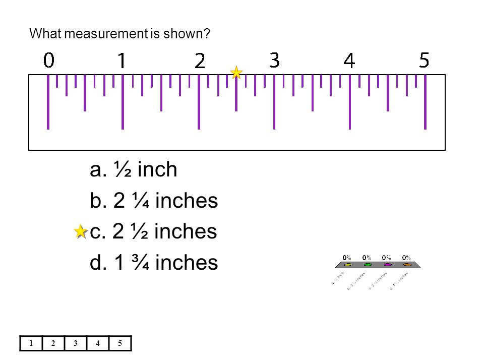 What measurement is shown 12345 a. ½ inch b. 2 ¼ inches c. 2 ½ inches d. 1 ¾ inches