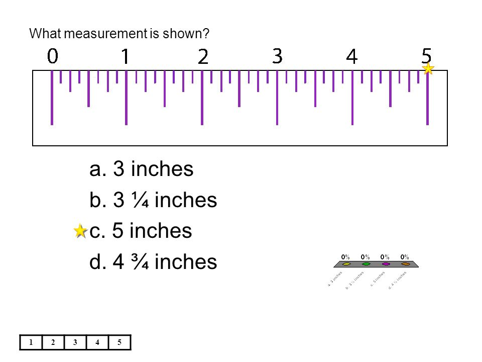 What measurement is shown 12345 a. 3 inches b. 3 ¼ inches c. 5 inches d. 4 ¾ inches