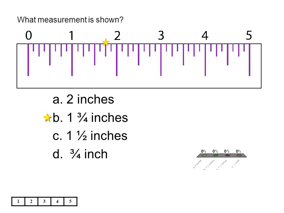 What measurement is shown 12345 a. 2 inches b. 1 ¾ inches c. 1 ½ inches d. ¾ inch