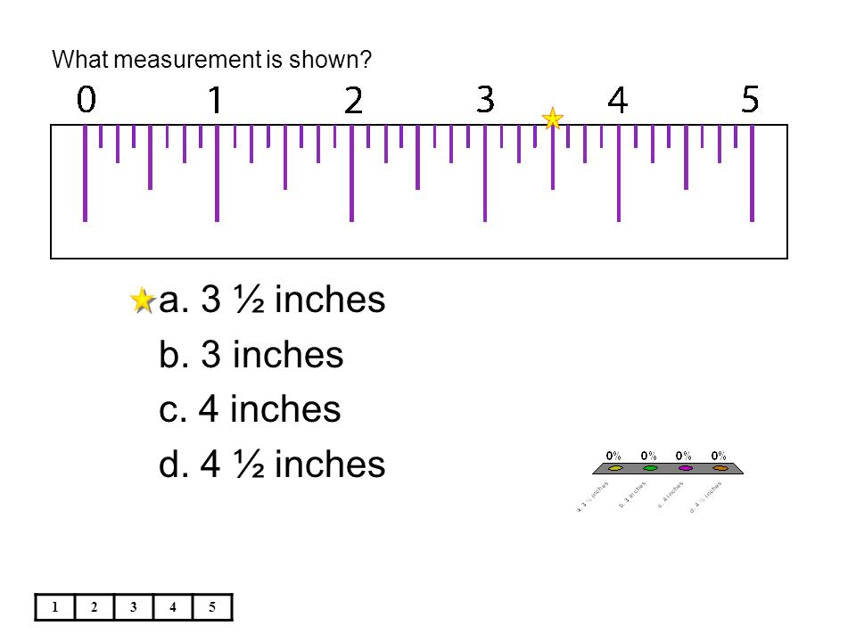 What measurement is shown 12345 a. 3 ½ inches b. 3 inches c. 4 inches d. 4 ½ inches
