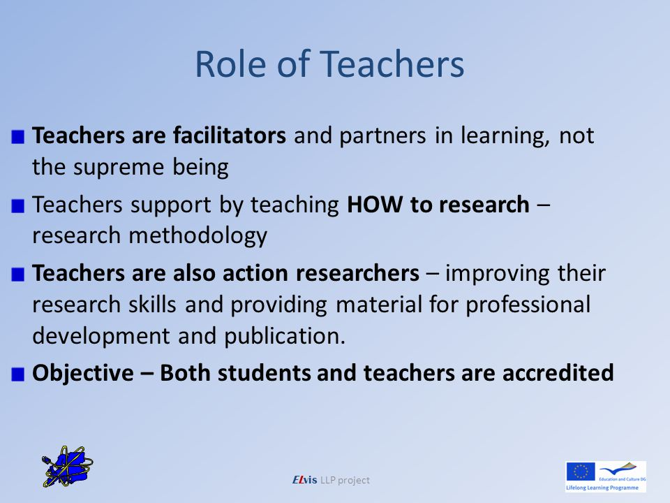 Role of Teachers Teachers are facilitators and partners in learning, not the supreme being Teachers support by teaching HOW to research – research methodology Teachers are also action researchers – improving their research skills and providing material for professional development and publication.