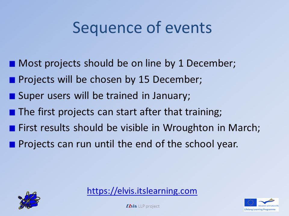 Sequence of events Most projects should be on line by 1 December; Projects will be chosen by 15 December; Super users will be trained in January; The first projects can start after that training; First results should be visible in Wroughton in March; Projects can run until the end of the school year.