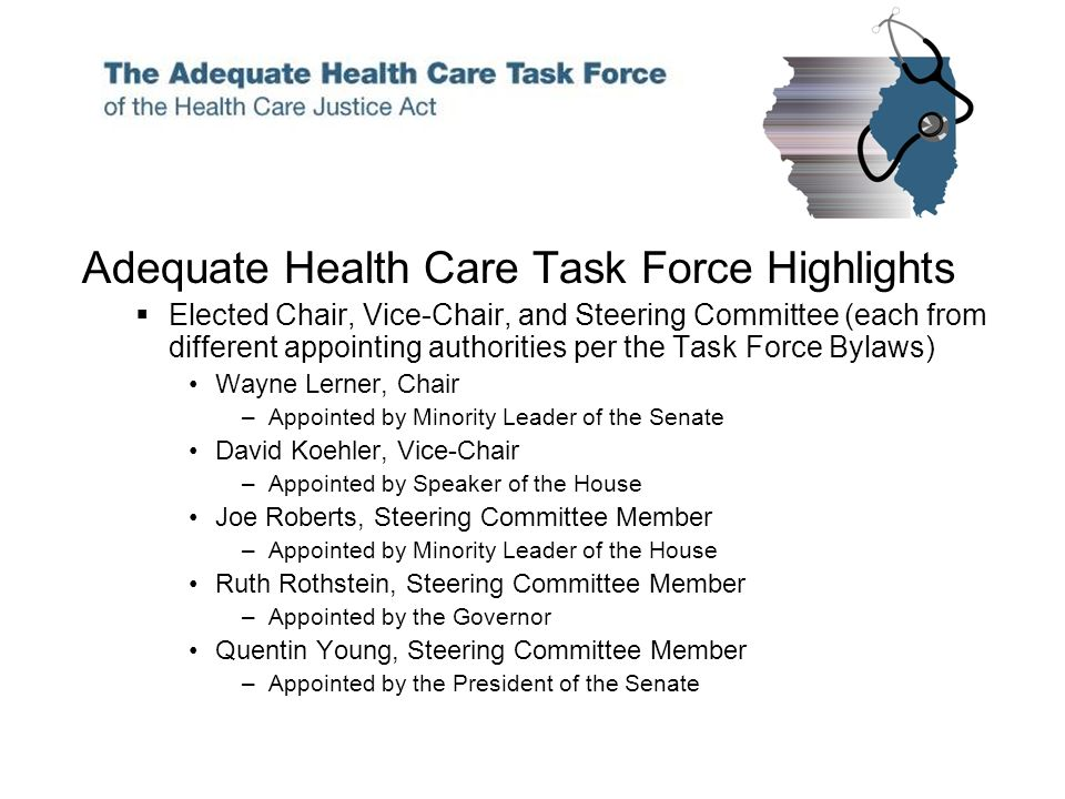 Adequate Health Care Task Force Highlights Elected Chair, Vice-Chair, and Steering Committee (each from different appointing authorities per the Task Force Bylaws) Wayne Lerner, Chair –Appointed by Minority Leader of the Senate David Koehler, Vice-Chair –Appointed by Speaker of the House Joe Roberts, Steering Committee Member –Appointed by Minority Leader of the House Ruth Rothstein, Steering Committee Member –Appointed by the Governor Quentin Young, Steering Committee Member –Appointed by the President of the Senate