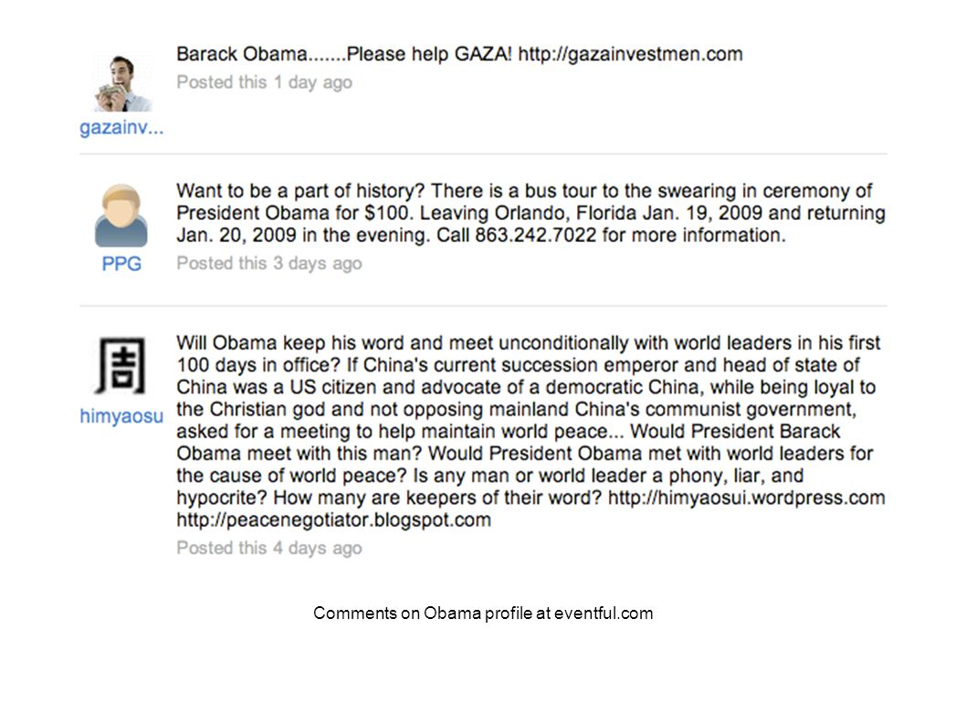 questions/implications Comments on Obama profile at eventful.com