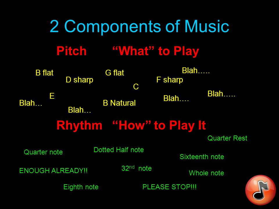 Music – A Definition (this is the stuff that appears on tests!!) Music - ORGANIZED SOUND (Yeah, thats it…..nothing else!!!) ORGANIZED SOUND (Heres the catch): Able to be transmitted from one party to another, with the second party being able to produce a similar, if not exact result.