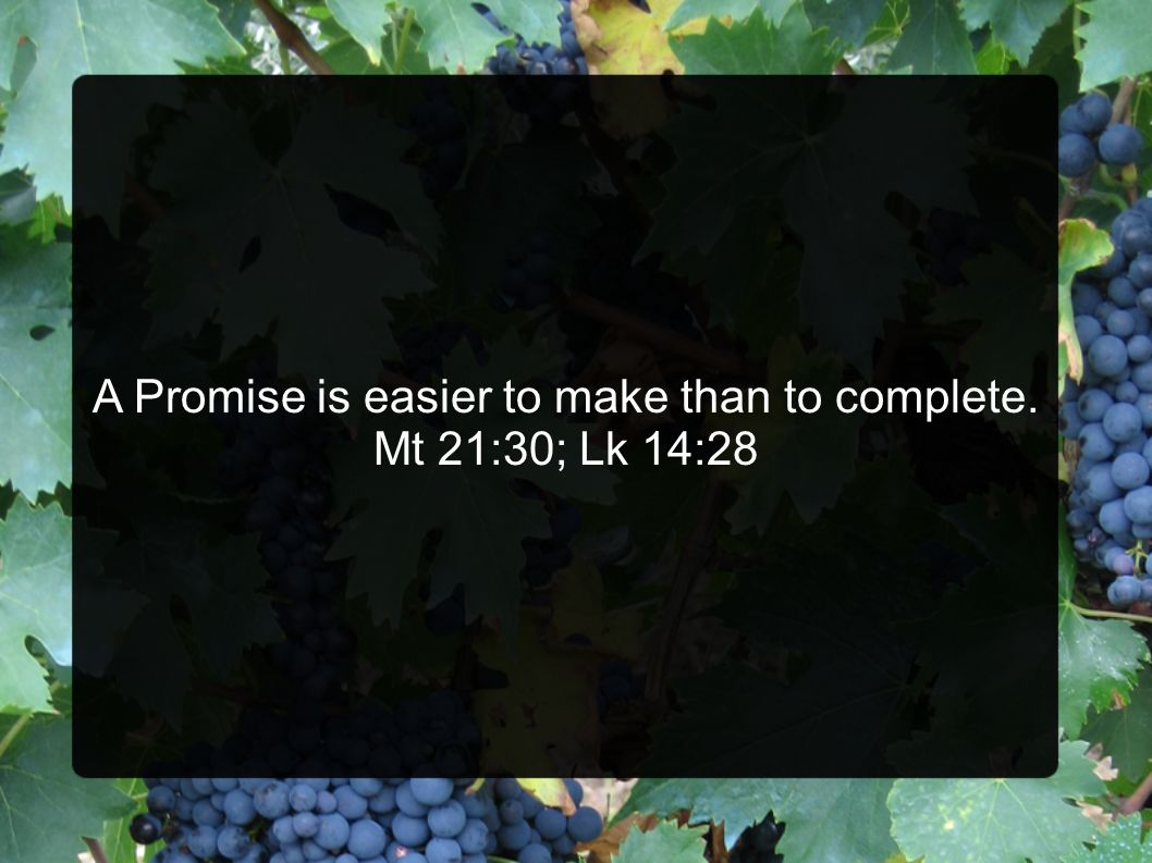 A Promise is easier to make than to complete. Mt 21:30; Lk 14:28