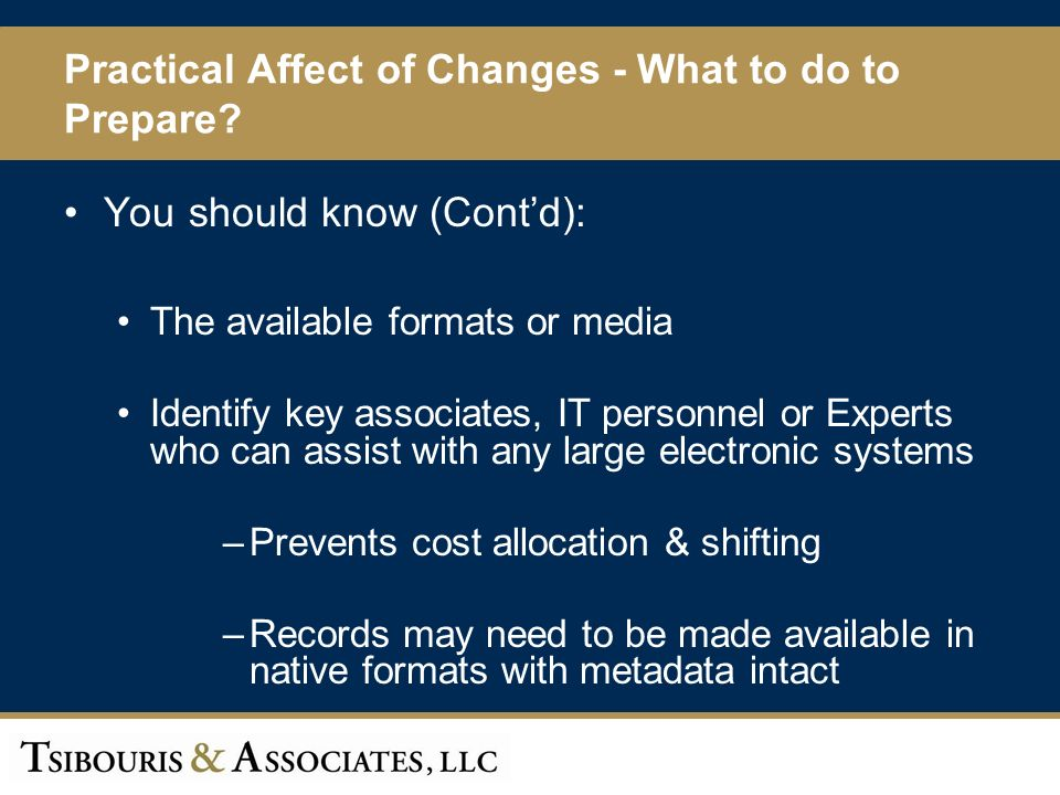 60 Practical Affect of Changes - What to do to Prepare.