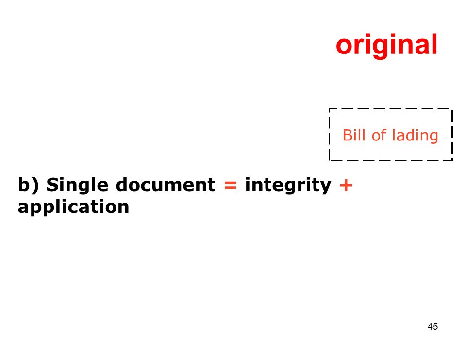 45 original b) Single document = integrity + application Bill of lading