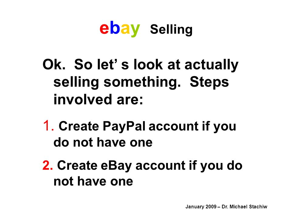 ebay Selling January 2009 – Dr. Michael Stachiw Ok.