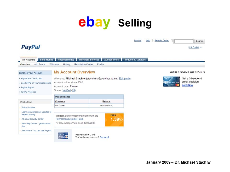 January 2009 – Dr. Michael Stachiw ebay Selling