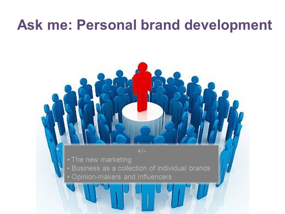 Ask me: Personal brand development +/- The new marketing Business as a collection of individual brands Opinion-makers and Influencers