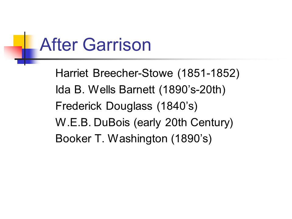 After Garrison Harriet Breecher-Stowe ( ) Ida B.