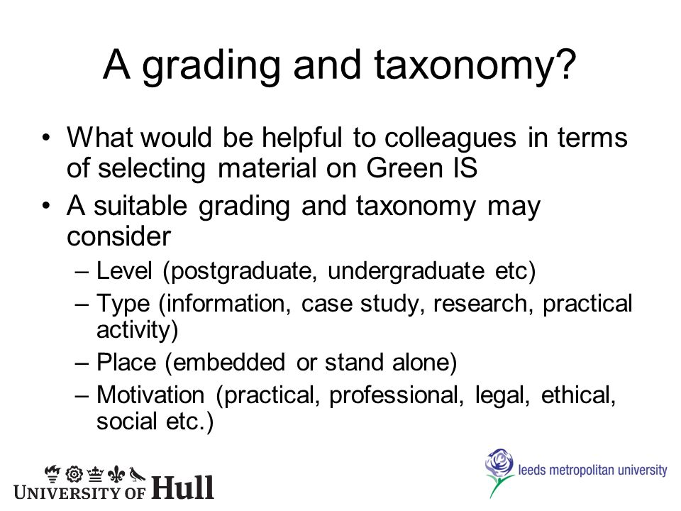 A grading and taxonomy.