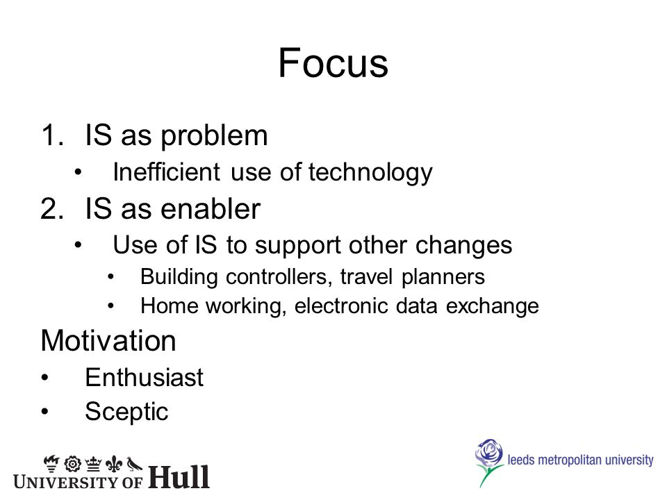 Focus 1.IS as problem Inefficient use of technology 2.IS as enabler Use of IS to support other changes Building controllers, travel planners Home working, electronic data exchange Motivation Enthusiast Sceptic