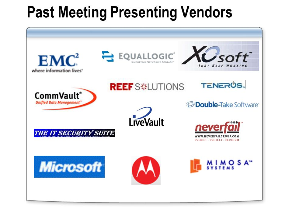 Past Meeting Presenting Vendors
