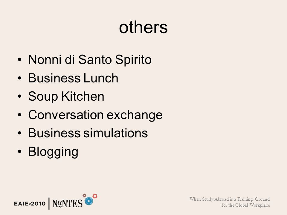 others Nonni di Santo Spirito Business Lunch Soup Kitchen Conversation exchange Business simulations Blogging When Study Abroad is a Training Ground for the Global Workplace