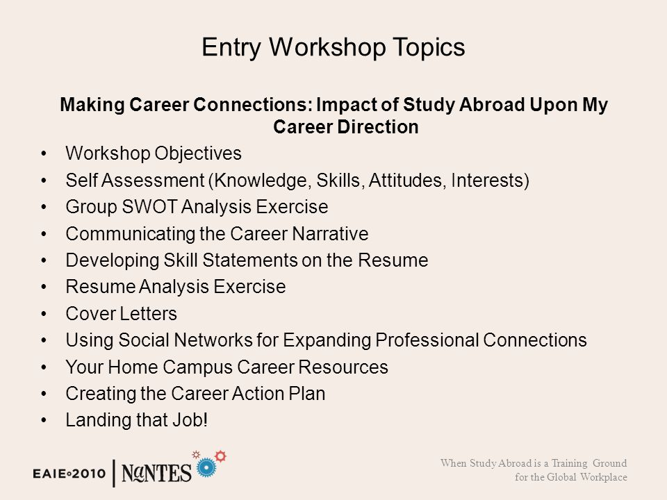 Entry Workshop Topics Making Career Connections: Impact of Study Abroad Upon My Career Direction Workshop Objectives Self Assessment (Knowledge, Skills, Attitudes, Interests) Group SWOT Analysis Exercise Communicating the Career Narrative Developing Skill Statements on the Resume Resume Analysis Exercise Cover Letters Using Social Networks for Expanding Professional Connections Your Home Campus Career Resources Creating the Career Action Plan Landing that Job.