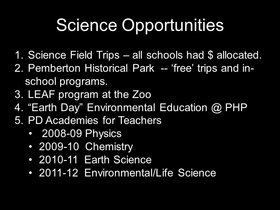 Science Opportunities 1. Science Field Trips – all schools had $ allocated.