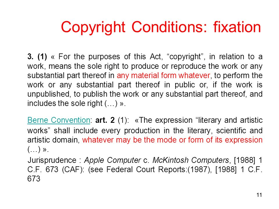 11 Copyright Conditions: fixation 3.