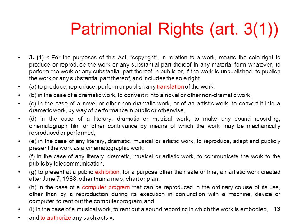 13 Patrimonial Rights (art. 3(1)) 3.