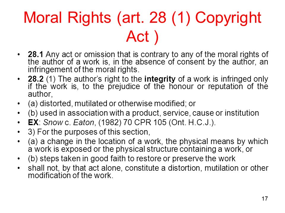 17 Moral Rights (art.
