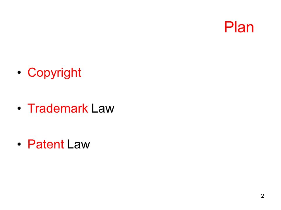22 Plan Copyright Trademark Law Patent Law