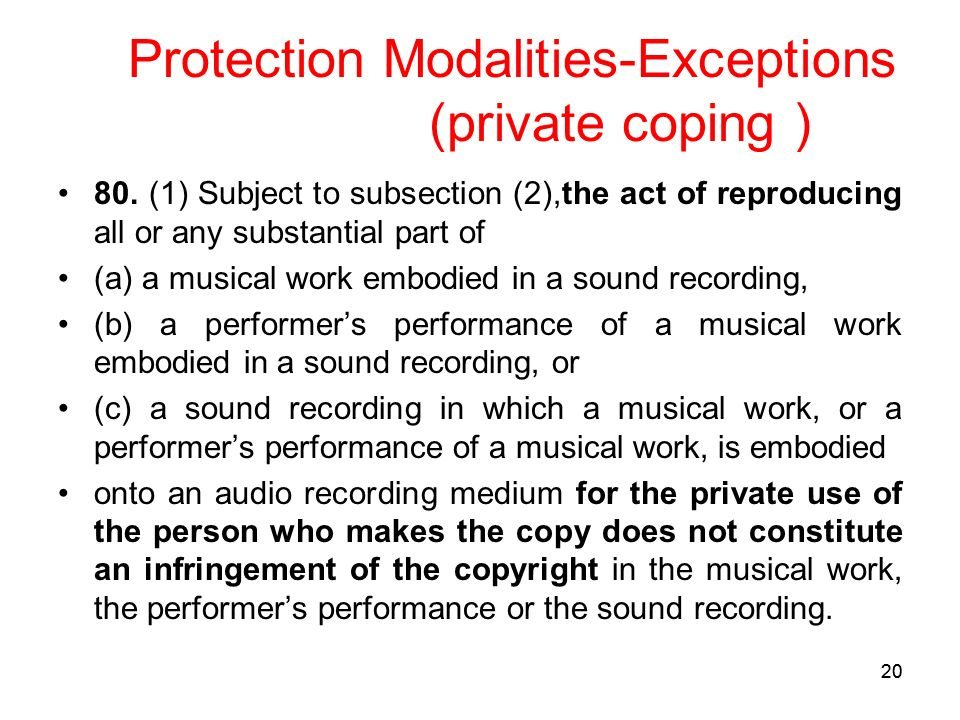 20 Protection Modalities-Exceptions (private coping ) 80.