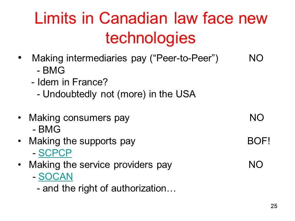 25 Limits in Canadian law face new technologies Making intermediaries pay (Peer-to-Peer) NO - BMG - Idem in France.