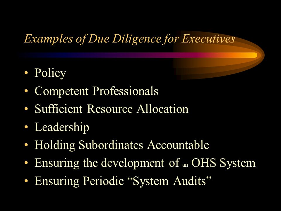 Examples of Due Diligence for Managers OHS Performance evaluation Holding others accountable Implementing programs Considering system wide problems